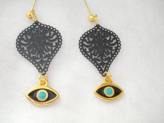 Black metal lace evil eye drops Gold evil eye dangles by Poppyg