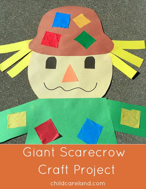 giant scarecrow craft project great for fine motor and scissor skills.