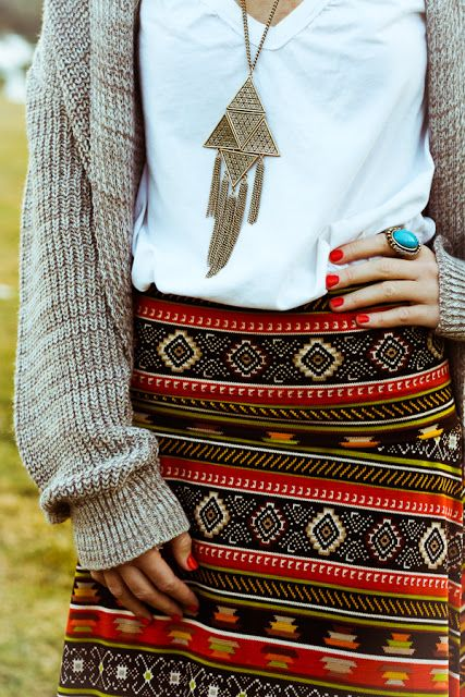 aztec print skirt and cozy layers