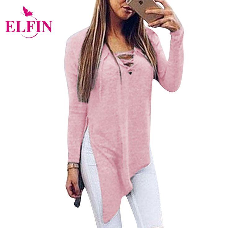 Fashion Autumn T Shirt Women Side Splits Sexy Long Sleeve Women Shirt Sexy Bandage Tee Shirt Femme Top Solid  Plus Size LJ5679R #Affiliate