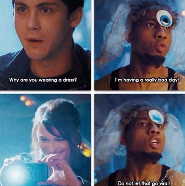 Percy Jackson<<< One of the rare hilarious moments in the movie that wasn't in the book