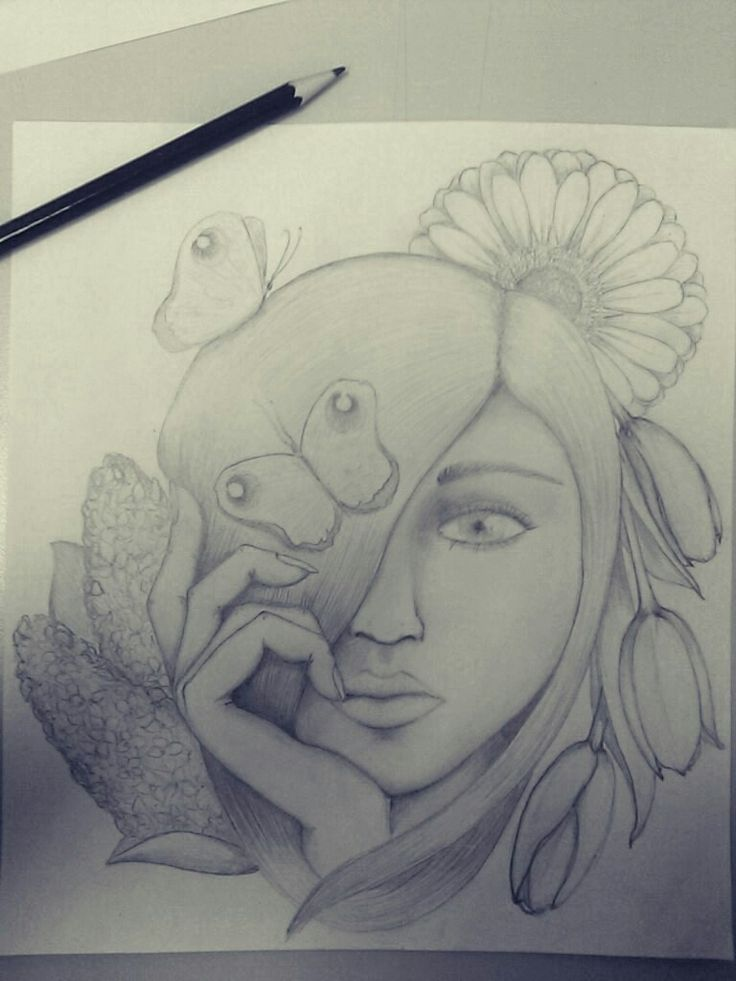 Spring. Pencil girl with flowers and butterflies