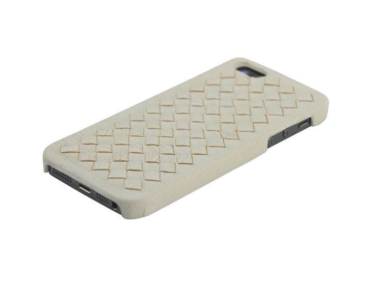 Luxe hardcover snap case hoesje iPhone 5/5S Gevlochten PU Leder Wit