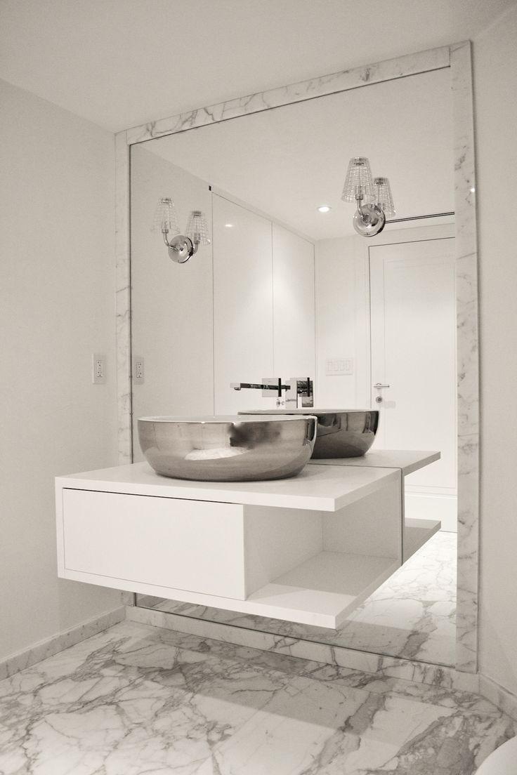 Huge floor length mirror in bathroom with a floating vanity marble floors and stainless steel for Floor vanity mirror