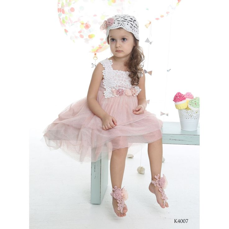 Girls Pink Tulle & Lace Dress with Crochet Hat-MI CHIAMO CHRISTENINGS-Βαπτιστικά Ρούχα Mi Chiamo - Ενδύματα Υψηλής Ποιότητας-ΒΑΠΤΙΣΤΙΚΑ ΡΟΥΧΑ