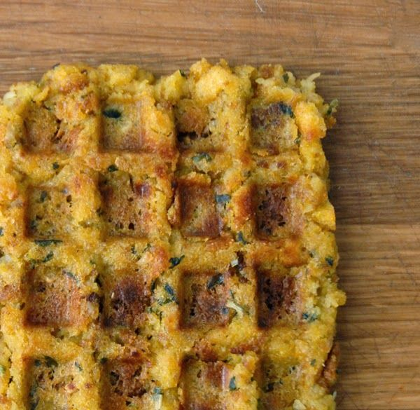 Use your leftover stuffing in a waffle press to make stuffing waffles!