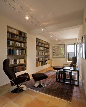 Library with Recessed Bookshelves - rustic - living room - other metro - Studio Santalla, Inc