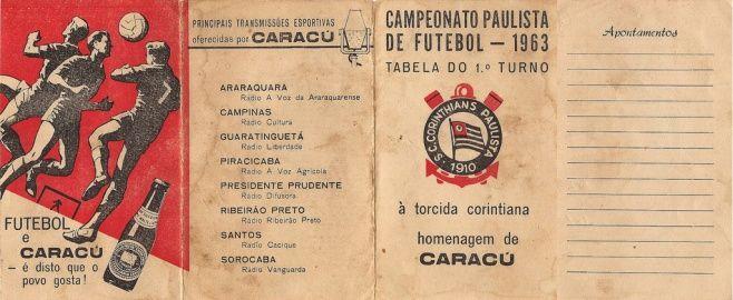 Tabela do 1º Turno do Campeonato Paulista de Futebol de 1963, oferecido pela Cerveja Caracu.  O original está aqui em casa e pertenceu ao meu pai, corintiano fanático e está aqui comigo.  É possível ver no verso as anotações dos placares dos jogos feitos pelo meu pai e também conferir as equipes que estavam no certame daquele ano.  Destaque para o Jabaquara e Prudentina, que faz tempo que não aparecem no nosso cenário futebolístico.
