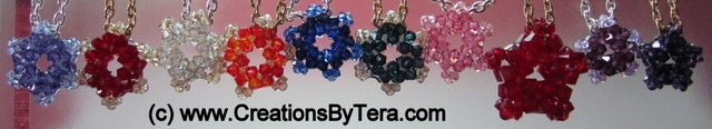 RAW (right angle weave) pendant necklaces--stars and snowflakes. Made with Swarovski crystals.