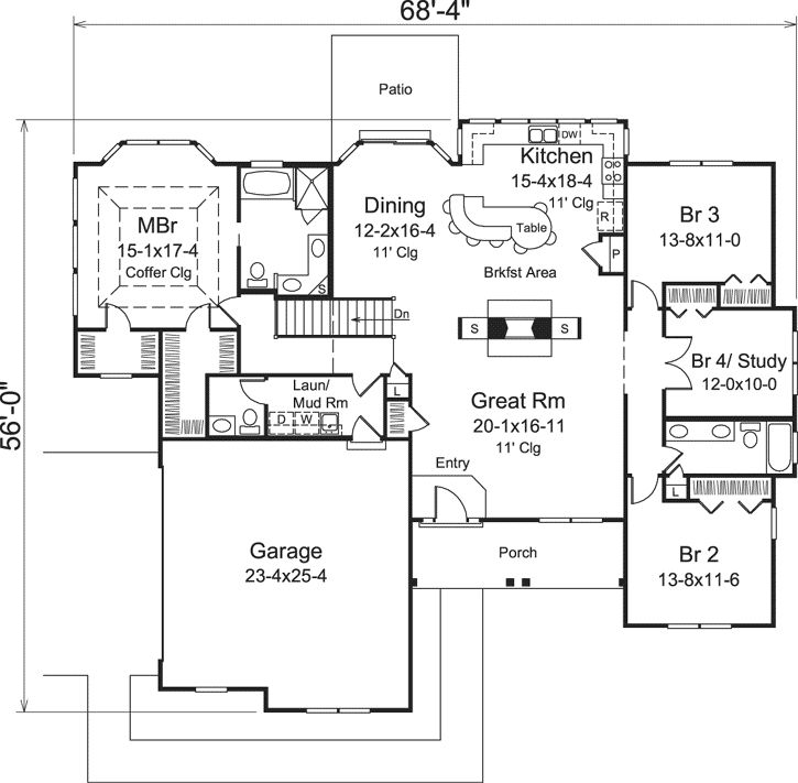 housing floor plans. Traditional Style House Plans - 2241 Square Foot Home , 1 Story, 4 Bedroom And Housing Floor
