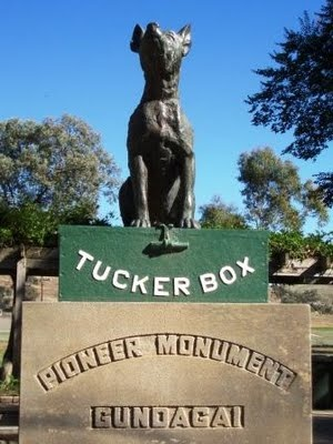 The Dog on the Tuckerbox is one of the few characters in Australian song to have his own monument. Erected in 1932, it still marks a popular resting place for passers-by.  Gundagai, Australia