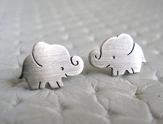 Elephant Earrings Sterling Silver are my original design. They were sawed by hand with delicate details.    * 8mm * 12mm  * 1 mm thick  * Sterling Silver