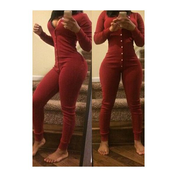Long Sleeve Button Closure Skinny Jumpsuit ($24) ❤ liked on Polyvore featuring jumpsuits, wine red, patterned jumpsuit, red long sleeve jumpsuit, red jumpsuit, print jumpsuit and jumpsuits & rompers