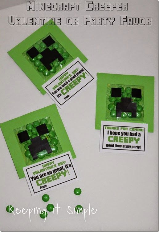 Easy Homemade Minecraft Creeper Valentine or Party Favor with Free Printable #minecraft @keepingitsimple