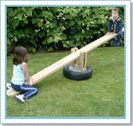 25 Free Backyard Playground Plans for Kids: Playsets, Swingsets, Teeter Totters and More! Could make this out of reclaimed lumber and an old tire. Pretty cool idea.