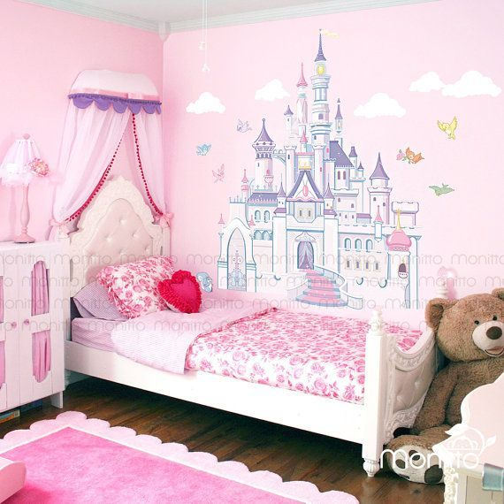 Disney Princess Castle With Colorful Birds And Squirrel Large Wall Sticker Kids Room Bedroom