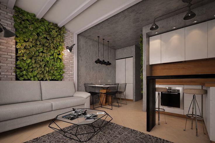 Комфортный лофт для маленькой однушки. - 3D-проект компактного пространства | PINWIN - конкурсы для архитекторов, дизайнеров, декораторов