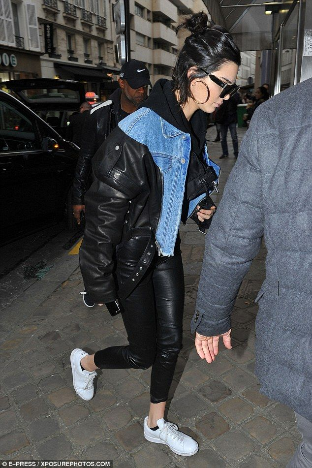 Stylish: The model of the moment oozed trendiness in a super cool all-black look, which wa...