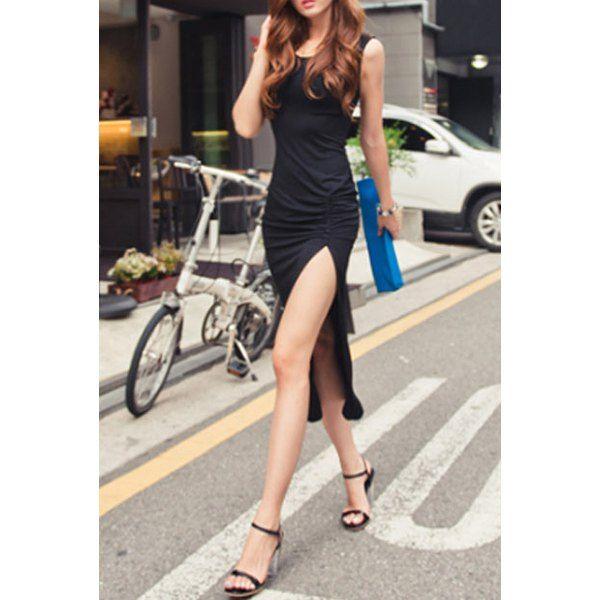 Stylish Scoop Neck Sleeveless Solid Color Side Slit Dress For Women, BLACK, ONE SIZE in Dresses 2014   DressLily.com
