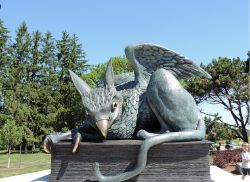 Gryphon statue at University of Guelph. Click to see mythical creature gifts.