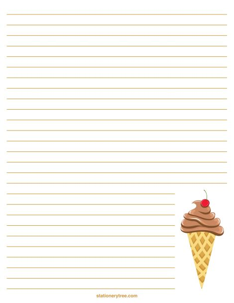Printable ice cream stationery and writing paper. Free PDF downloads at http://stationerytree.com/download/ice-cream-stationery/.