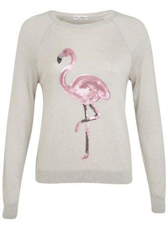 Pullover mit Pailletten-Flamingo - Strickwaren - Kleidung