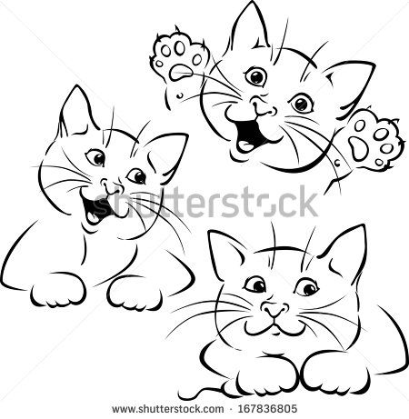 vector cat playing - black outline illustration