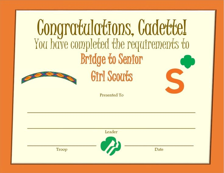 12 best cadette certificates images on Pinterest Girl scout - congratulations certificates