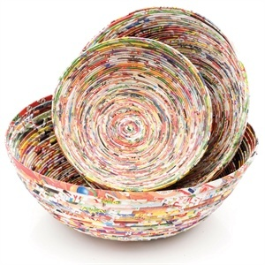 Hand made recycled paper bowls - love the colours and the simplicity of the design - i wonder how easy they are to make?!