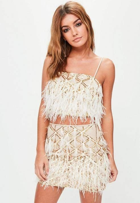 9958fb3699f47 Missguided Gold Feather Crop Bralette