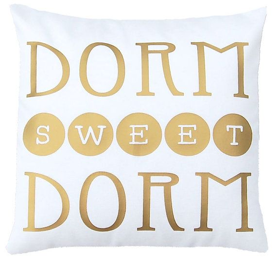 Love this super-cute pillow! The gold and white will look gorgeous against gray bedding and blend easily with a pink/turquoise/yellow color scheme.