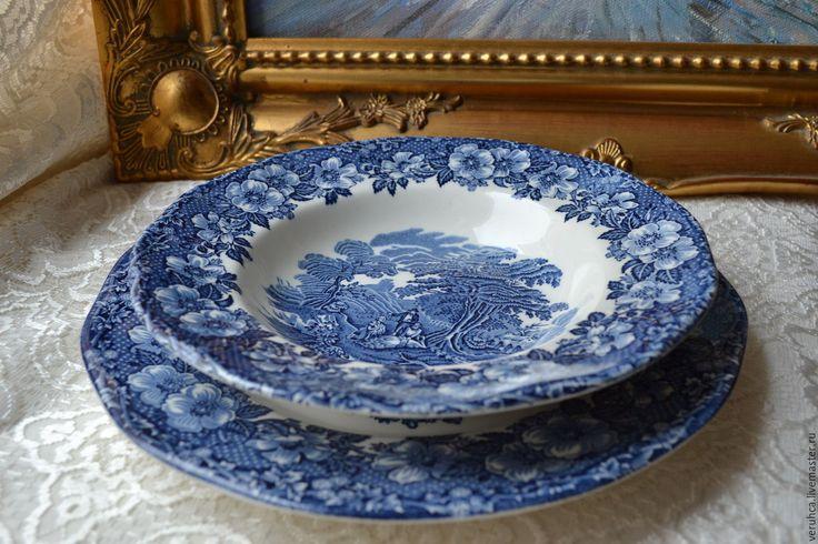 Купить Винтаж. Тарелки. Англия Веджвуд 70-х. - синий, Керамика, фарфоровая посуда