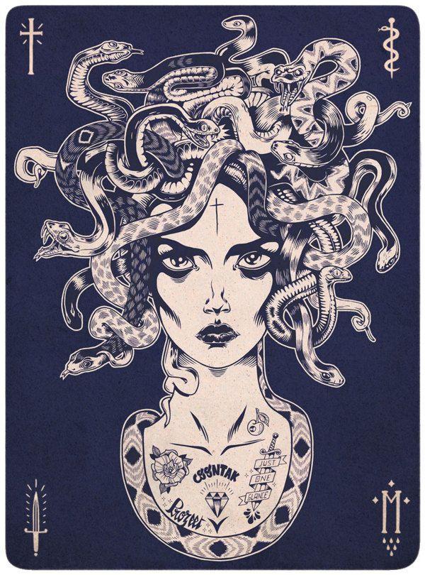La gorgona  era un despiadado monstruo femenino a la vez que una deidad protectora procedente de los conceptos religiosos más antiguos. Su poder era tan grande que cualquiera que intentase mirarla quedaba petrificado, por lo que su imagen se ubicaba en todo tipo de lugares, desde templos a cráteras de vino, para propiciar su protección