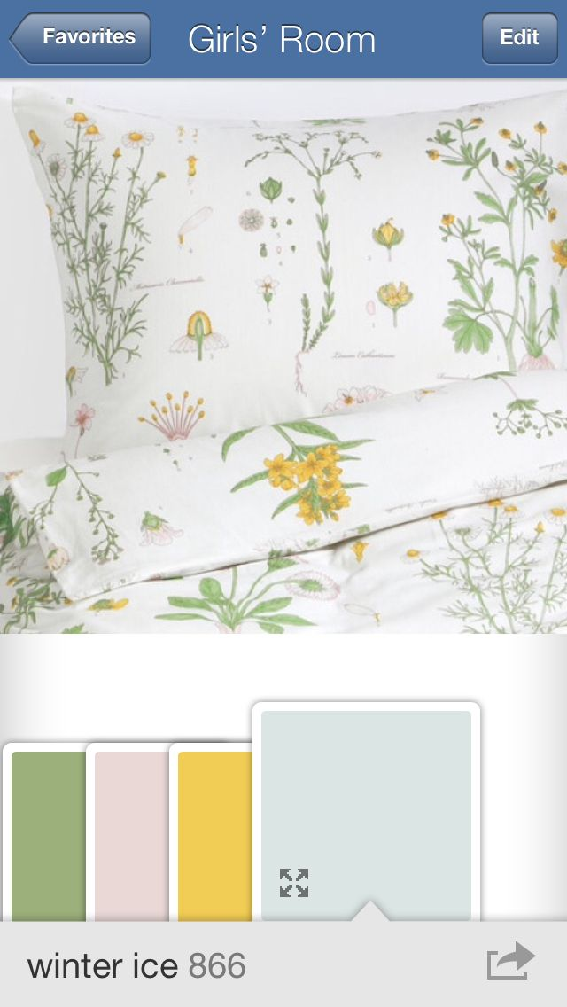 "color palette // IKEA ""STRANDKRYPA"" duvet cover; Benjamin Moore 432 ""grenada green,"" 1261 ""paisley pink,"" 349 ""yellow brick road,"" and 866 ""winter ice"""