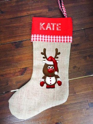 Hessian Christmas Stocking - Reindeer with Name