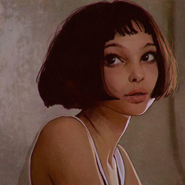 Топ искусства -- фильм профессиональный леон девушка матильда маслом -- 24 дюймов художественная роспись -- бесплатная доставка стоимость