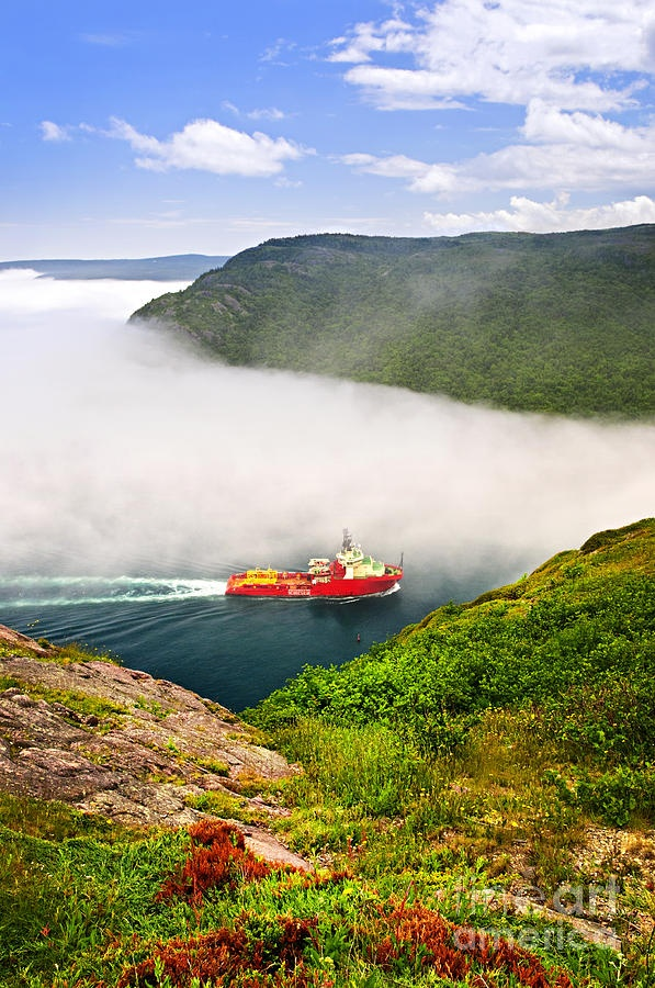 Ship entering the Narrows of St John's harbor, Newfoundland