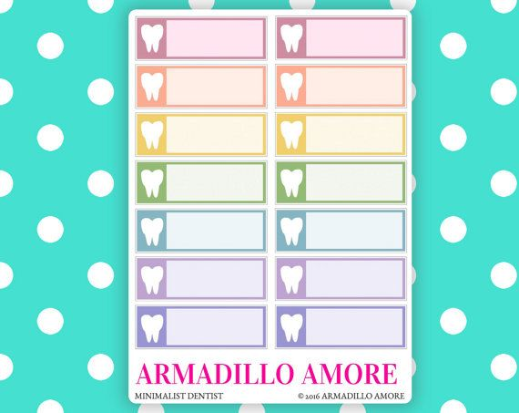 Double Rainbow Minimalist Dental Appointment Reminders {14 Fancy Matte Repositionable Planner Stickers} by ArmadilloAmore on Etsy