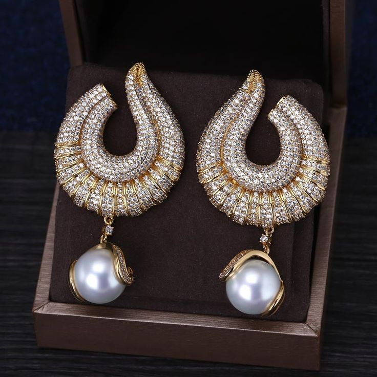 Luxurious Micro Pave AAA CZ With Pearl Gold Plated Drop Earring