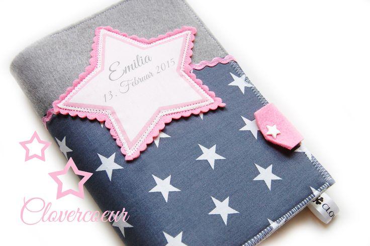 Für Mama - STERN ~ STAR ♥ 3 in 1 U-Heft Hülle ~ grau rosa - ein Designerstück…