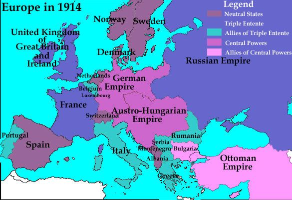 The Political Map of Europe in 1914 showing how the nations were separated by