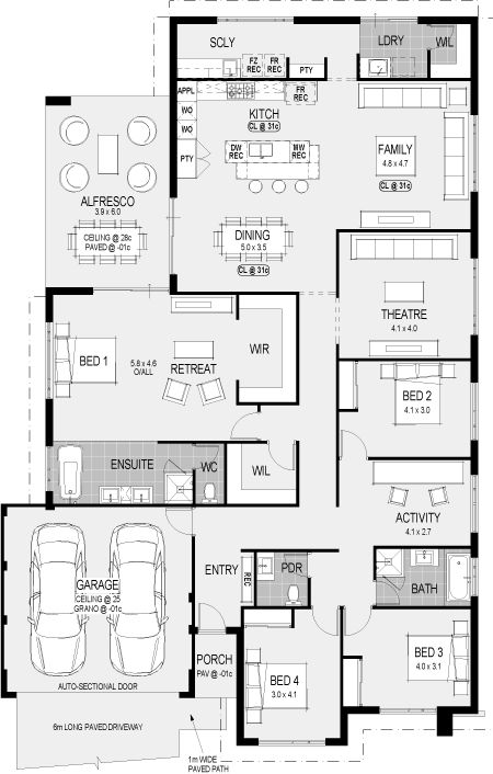 The San Francisco floorplan. I like the idea of the scullery on the other side of the kitchen