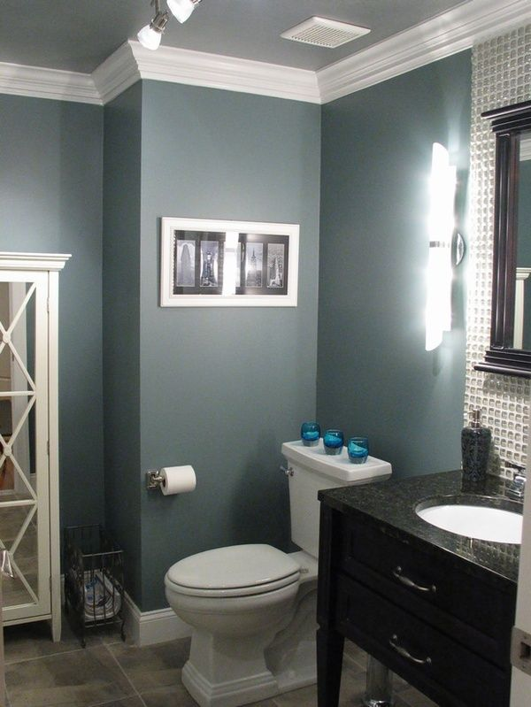 blue-grey bathroom love the crown molding.  Downstairs bathroom (?)  Paint the ceiling  Glidden Smooth Stone (?)