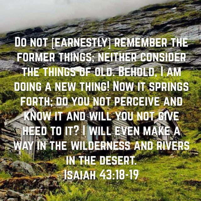 Do not [earnestly] remember the former things; neither consider the things of old.Behold, I am doing a new thing! Now it springs forth; do you not perceive and know it and will you not give heed to it? I will even make a way in the wilderness and rivers in the desert. (Isaiah 43:18-19 AMP)Have a blessed day n Jesus Christ..May God bless you abundantly..