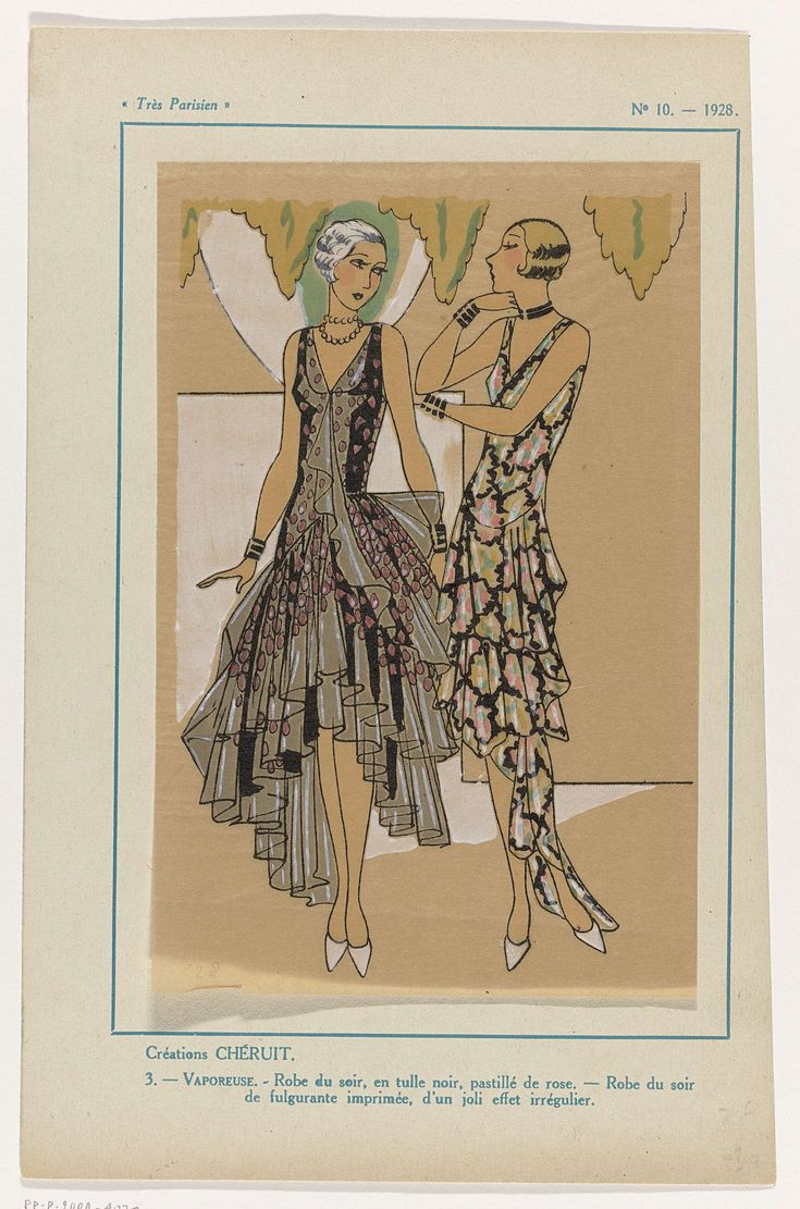 Anonymous | Très Parisien, 1928, No. 10 : Créations Chéruit / 3. - VAPOREUSE..., Anonymous, Chéruit, G-P. Joumard, 1928 | Ontwerpen van Chéruit. Avondjurk van zwarte tule met roze stippen. Avondjurk van bedrukte 'fulgurante'. Accessoires: collier, armbanden, schoenen met puntige neuzen. Prent uit het modetijdschrift Très Parisien (1920-1936).
