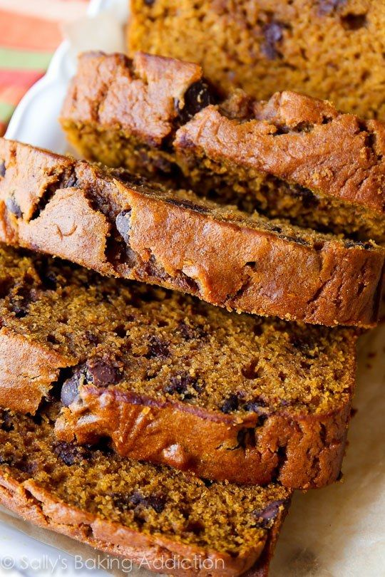 Deliciously moist and flavorful pumpkin spice bread with chocolate chips!