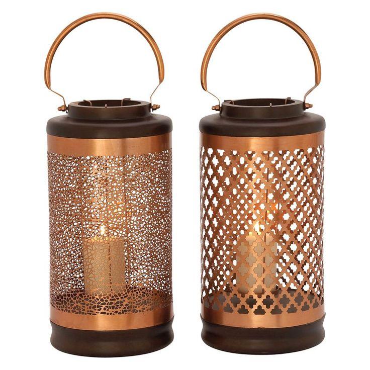 DecMode Metal Cylinder Lantern Candle Holder - Set of 2   from hayneedle.com