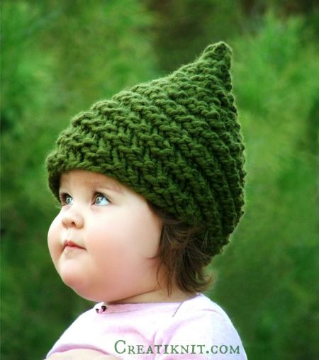 Check out this cute gnome hat by CreatiKnit! Now available for BOTH knit and crochet - this is the knit version, find the crochet version here: http://lby.co/1M1Nlay