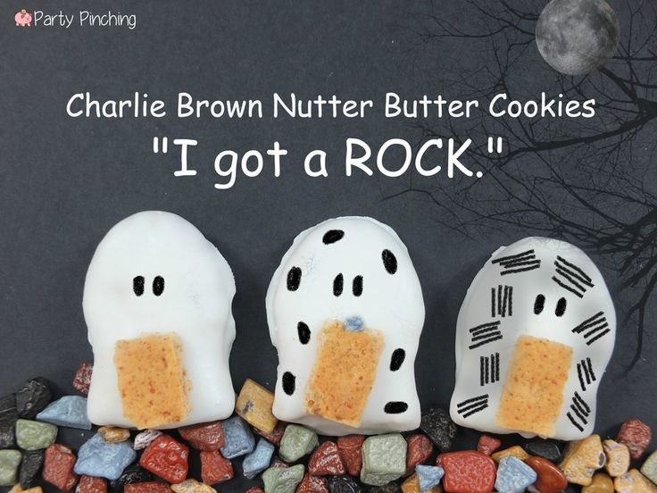 """Charlie Brown Nutter Butters: 'I got a ROCK.' These Nutter Butter Cookies were inspired by my all-time favorite Halloween show, 'It's the Great Pumpkin Charlie Brown!'"""