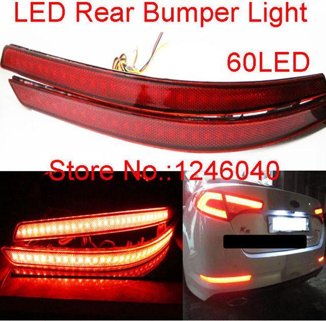 Red lens 60LED Rear bumper reflector light brake lamp stop light rear fog light lamp for 2011 2012 2013 Hyundai Kia Optima K5